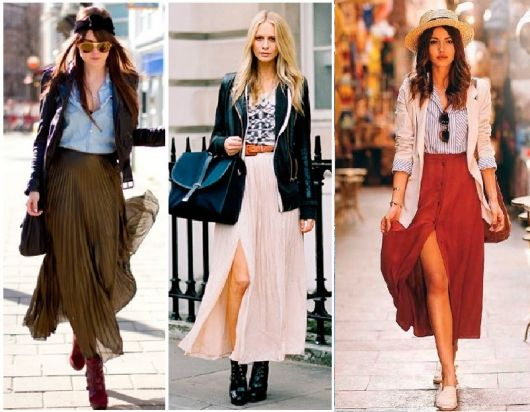 Looks com saias plissadas, blusa e casaco com sapato casual.