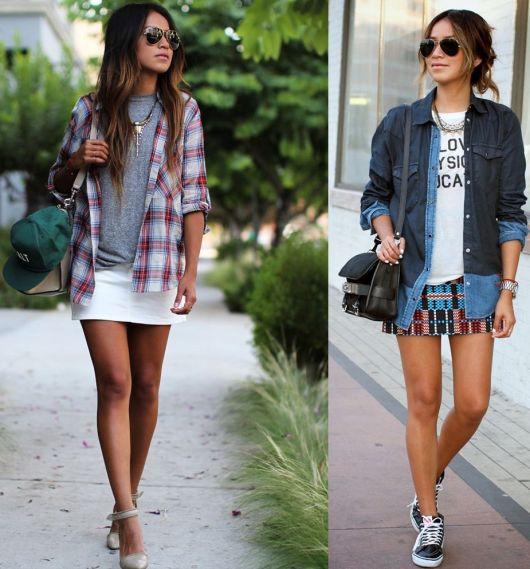 Primeira foto veste saia crtinha branca, camisa xadrez e salto, segunda foto, veste saia estampada, camiseta básica com sobreposição de casaco jeans e tênis.