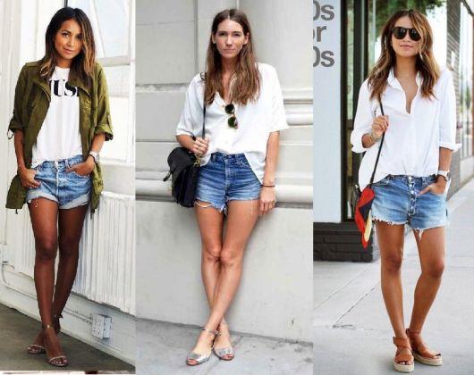 Modelos vestem camisa branca básica,shorts jeans e sandálias.