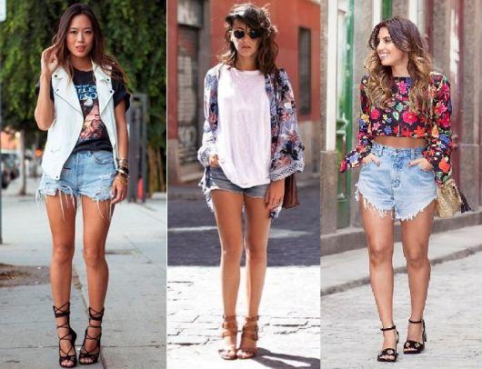 Looks com blusas e sobreposições, shorts jeans e sandálias de salto.