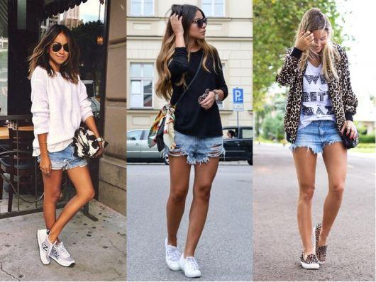 Modelos vestem blusas meia-estação, short jeans e t:ênis.