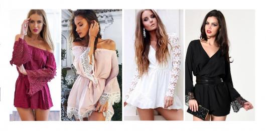 Modelos vestem macaquinho manga longa com renda nas mangas, nas cores bordô, rosê, branco e preto.