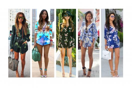 modelos vestem macaquinho manga longa estampado, nas cores, verde, azul, preto floral, branco com azul e azul forte com branco.