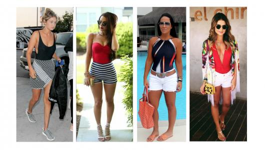 Modelos vestem maiô com saia e shorts jeans.
