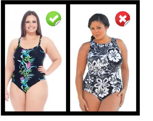 Modelos vestem maiô nas cores preto com estampa miúda floral, e estampa branca com floral grande.