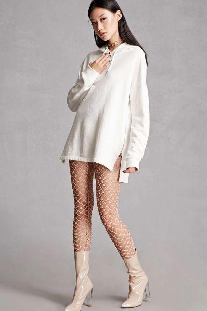 look meia arrastão branca