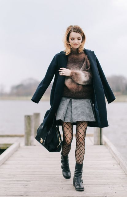 look inverno com saia