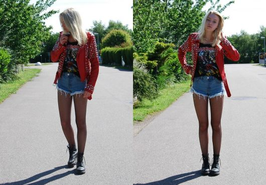short jeans com coturno