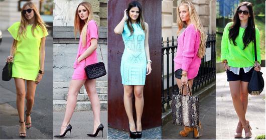 Looks com roupa neon, nas cores rosa, azul, verde e amarelo fluorecente.