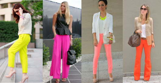 Calças neon nas cores, amarelo, rosa, laranja neon.