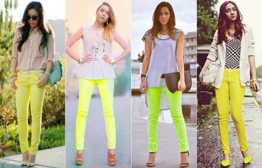Looks com calças neon, amarela e verde.
