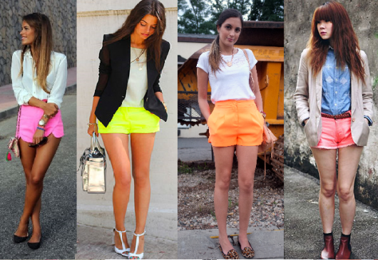 Shorts neon nas cores rosa, verde e laranja.
