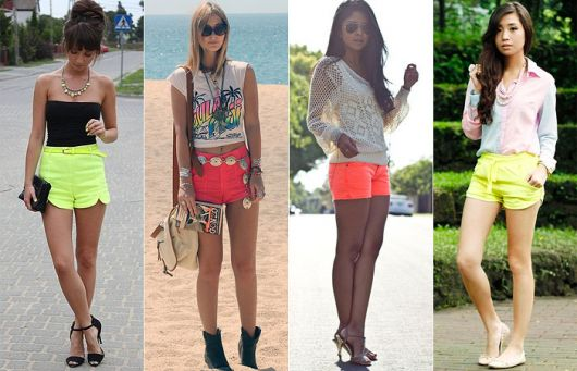 Looks com shorts neon nas cores verde e laranja forte