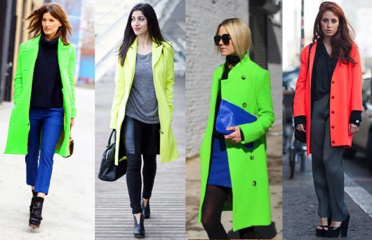 Modelos vestem casacos neon nas cores, verde, amarelo e laranja flúor.