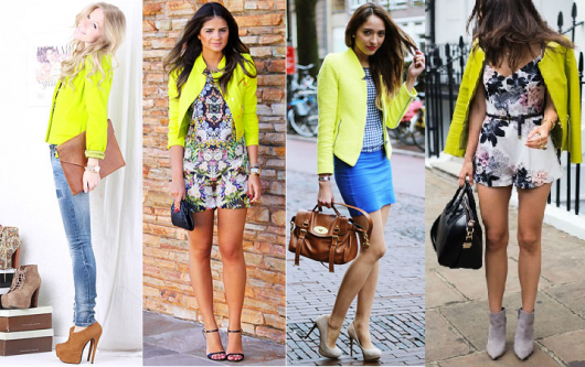 Looks com modelos de jaqueta na cor amarelo neon.