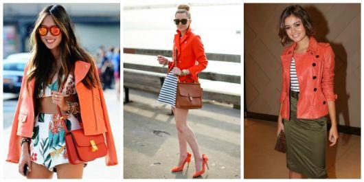 Looks com jaquetas flúor laranja.