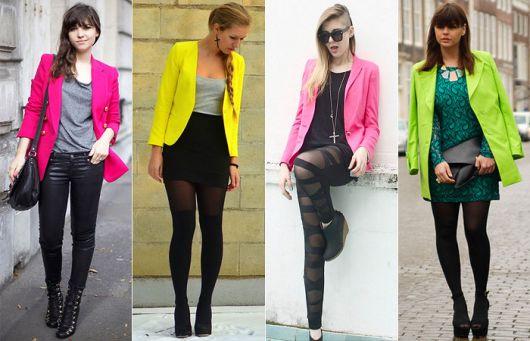 Modelos vestem blazers neon, rosa, amarelo e verde.