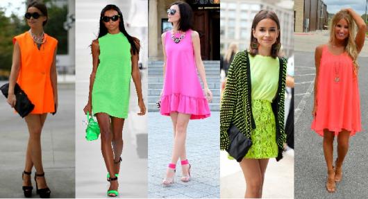 Vestidos nos tons laranja, verde, rosa neon.