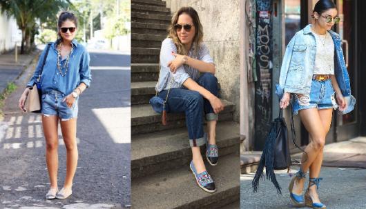 três looks total jeans com sapatilha.