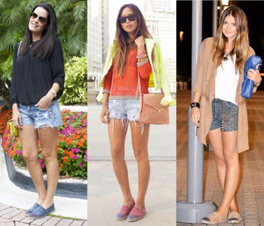 Looks com short jeans, blusa soltinha e alpargatas.
