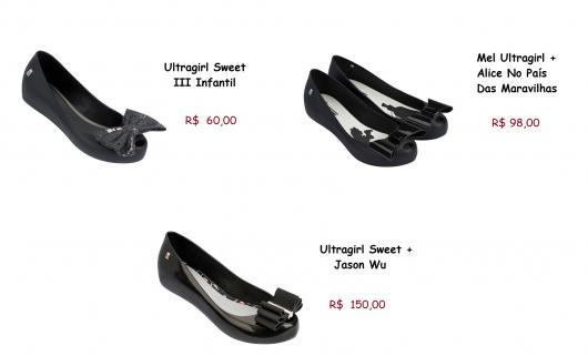 Sapatilhas da marca Melissa com preços.
