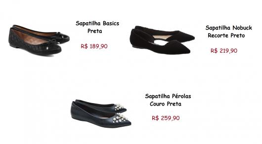 Sapatilhas nas cores preta da marca Arezzo e seus preços.
