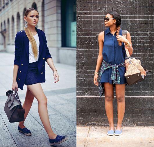 Modelos vestem conjunto de saia e blusa, com espadrille jeans.