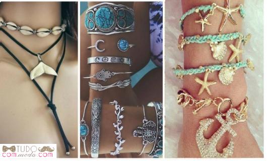 Modelos de pulseiras e colares inspirado nas sereias.