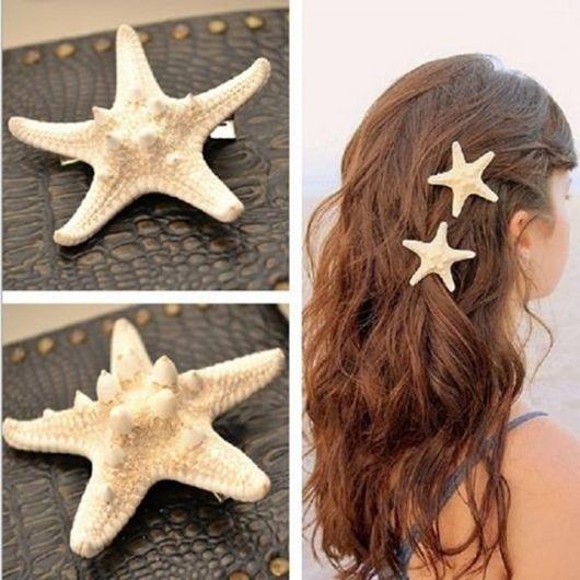 Estrela-do-mar em forma de enfeites para cabelo.