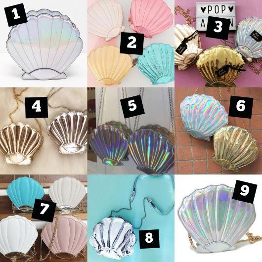 Modelos de bolsa concha nas cores, prata, rosa, azul, bege, dorado e branco.