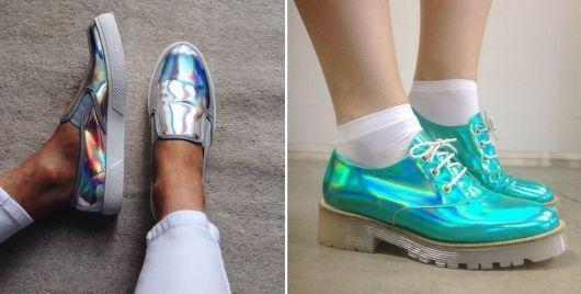Sapatos metalizados, o primeiro modelo na cor prata com salto plataforma baixo e o segundo na cor verniz azul-turquesa com salto tratorado.