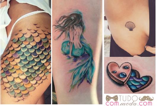 tatuagens de escamas de peixe, sereia, concha e coração com detalhe de escamas azuis.