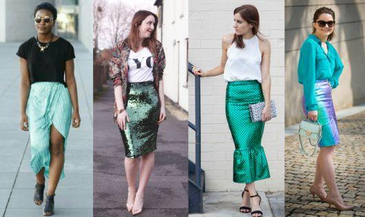 Modelos vestem saias de paêtes em tons de verde.