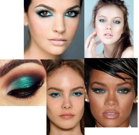Modelos com delineador azul nos olhos, pele iluminada e batom cor de boca.