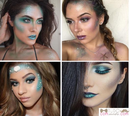 Maquiagens artísticas, nas cores roxo e azul -turquesa cintilante.
