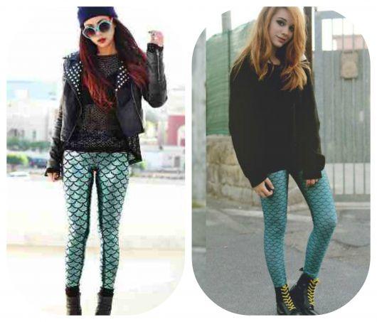 Looks com calça estampa de escamas de peixe e blusa preta com sapato na mesma cor.