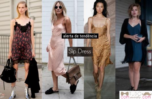 Modelos vestem vestido estilo langerie nas cores, rosê, dourado, verde e estampado.