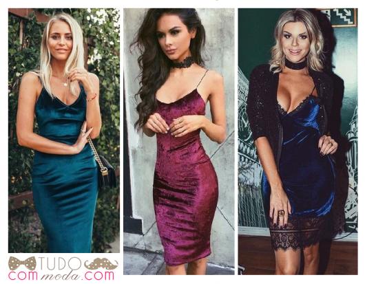 Modelos vestem vestidos em veludo, nas cores azul-turquesa, roxo e azul marinho.