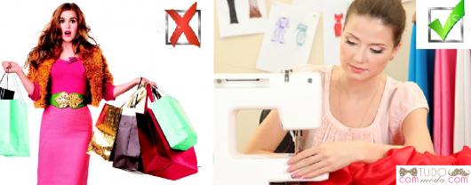 Primeira ilustração mostra mulher cheia de sacolas de compra, segunda ilustração mostra mulher costurando.