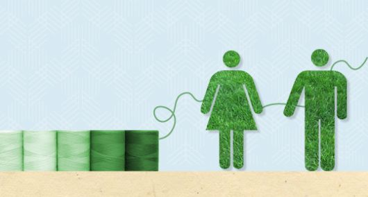 Ilustração com dois bonequinhos verdes da sustentabilidade.