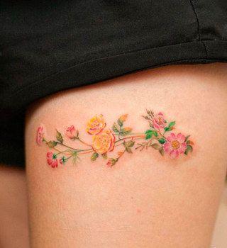flores coloridas coxa