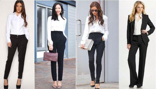 Seleção de calças em alfaiataria com camisa branca.