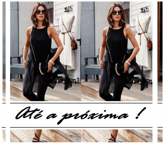 """Imagem final do post, com mulher de blusa, sandalia e calça preta, com escrita """"até a próxima""""!"""