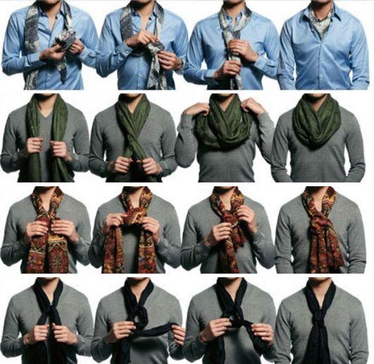 Modelos de camisa cinza, ensinando em passo a passo de fotos como se deve amarrar echarpe masculina.