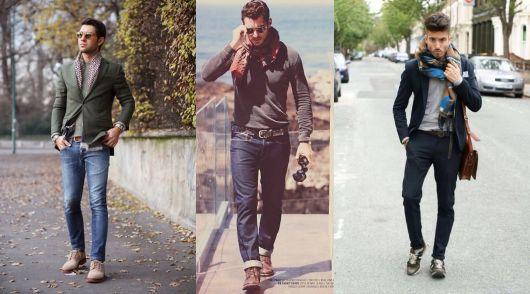 Modelos vestem looks completos com echarpe masculina.