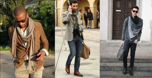 Modelos vestem blazer e calça jeans, sapato e echarpe masculino.
