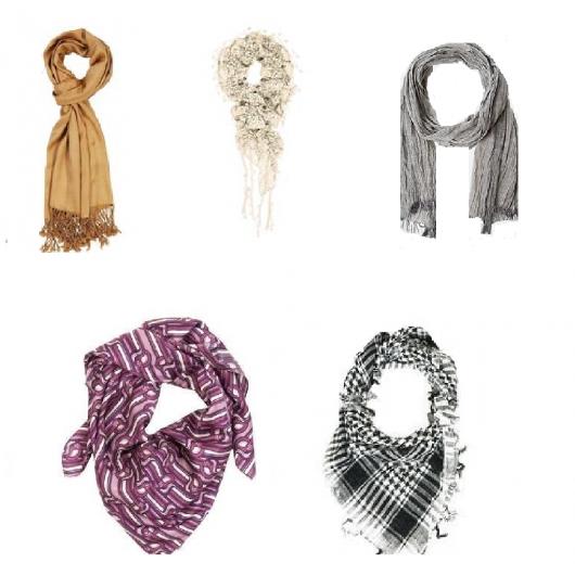 Modelo de echarpe masculina, nas cores, marrom, branco crem. cinza, roxo e xadrez.