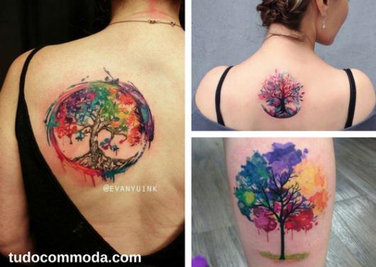 seleção de fotos de tatuagem de árvore da vida com flores em aquarela