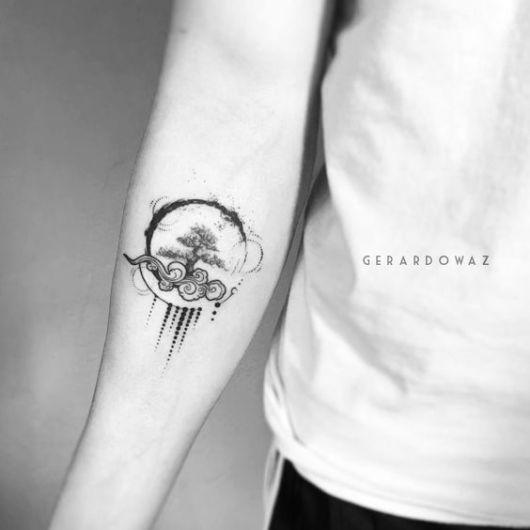 tatuagem de árvore da vida com círculo