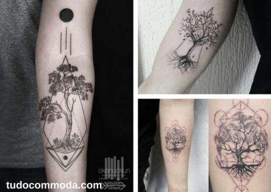 tatuagens de árvore da vida com formas geométricas